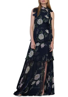 ML Monique Lhuillier Ruffle Tiered Floral Print Gown