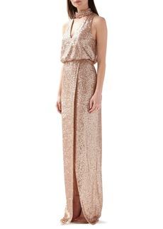 ML Monique Lhuillier Sequin Blouson Evening Gown
