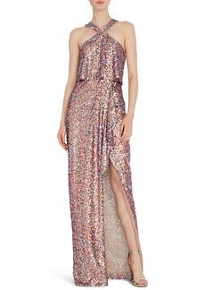ML Monique Lhuillier Sequin Halter Gown