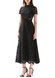 ML Monique Lhuillier Short Sleeve A-Line Lace Midi Dress