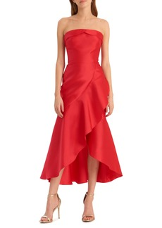 ML Monique Lhuillier Strapless Satin Cocktail Dress