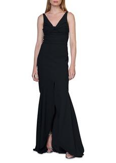 ML Monique Lhuillier Twist Front Crepe Gown
