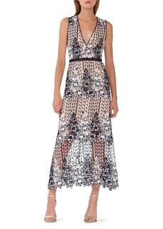 ML Monique Lhuillier Two Tone Lace Tea Length Dress