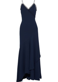 Ml Monique Lhuillier Woman Button-embellished Draped Crepe Gown Navy