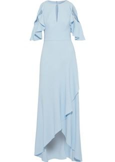 Ml Monique Lhuillier Woman Cold-shoulder Ruffled Crepe Gown Sky Blue