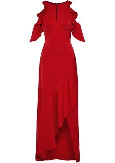 Ml Monique Lhuillier Woman Cold-shoulder Ruffled Satin-crepe Gown Crimson