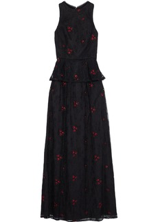 Ml Monique Lhuillier Woman Embroidered Chantilly Lace Peplum Gown Black