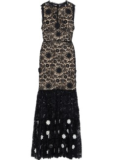 Monique Lhuillier Woman Floral-appliquéd Guipure Lace Gown Black