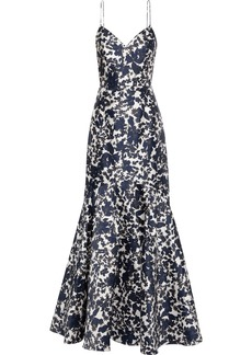Ml Monique Lhuillier Woman Fluted Floral-print Satin-twill Gown Navy