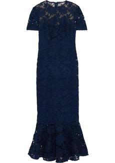 Ml Monique Lhuillier Woman Fluted Guipure Lace Midi Dress Navy
