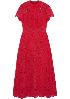 Ml Monique Lhuillier Woman Guipure Lace Midi Dress Red