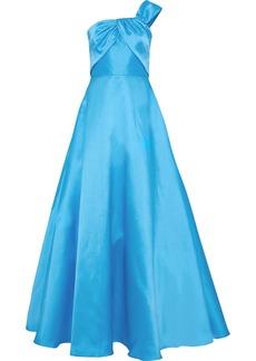 Ml Monique Lhuillier Woman One-shoulder Gathered Duchesse-satin Gown Light Blue