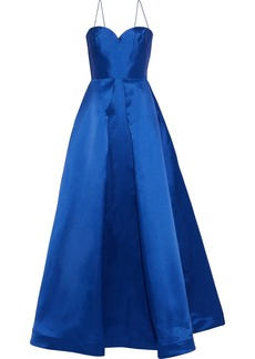 Ml Monique Lhuillier Woman Pleated Duchesse-satin Gown Royal Blue