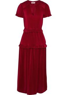 Ml Monique Lhuillier Woman Shirred Plissé-satin Midi Dress Claret