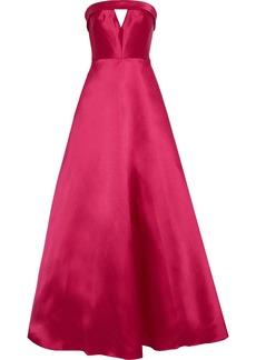 Ml Monique Lhuillier Woman Strapless Cutout Duchesse-satin Gown Fuchsia