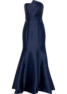Ml Monique Lhuillier Woman Strapless Pleated Duchesse-satin Gown Midnight Blue