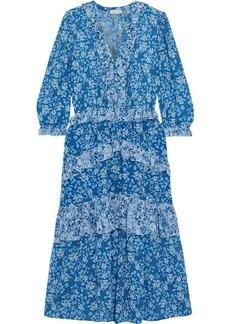 Ml Monique Lhuillier Woman Tiered Floral-print Crepe De Chine Midi Dress Blue