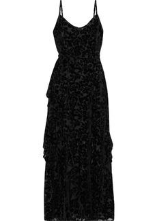 Ml Monique Lhuillier Woman Wrap-effect Ruffled Devoré-velvet Gown Black