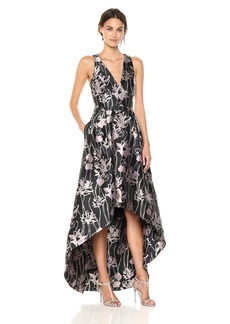 ML Monique Lhuillier Women's Floral Hi Lo Gown iris Multi