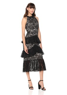 ML Monique Lhuillier Women's Lace Tiered Ruffle Dress Dress