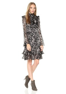 ML Monique Lhuillier Women's Long Sleeve Cocktail Dress with Bodice Ruffle
