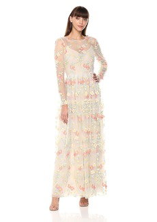 ML Monique Lhuillier Women's Long Sleeve Floral Mesh Gown Combo