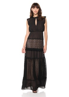 ML Monique Lhuillier Women's Mixed Fabric Maxi Gown Dress