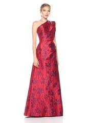 ML Monique Lhuillier Women's One Shoulder Floral Gown