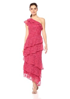ML Monique Lhuillier Women's One Shoulder Tiered Dress with Floral Embroidery deep Rose
