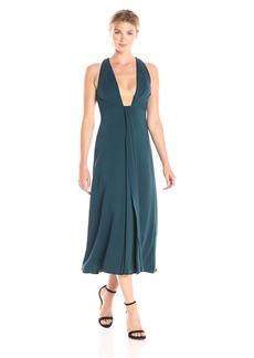 ML Monique Lhuillier Women's Plunging Neckline Midi Dress deep Teal