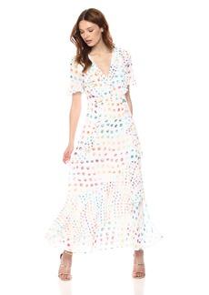 ML Monique Lhuillier Women's Printed Ruffle Maxi Dress