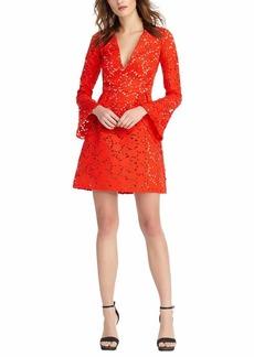 ML Monique Lhuillier Women's V Neck Lace Bell Sleeve Dress