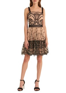 ML Monique Lhuillier ML Monique Lhullier Embroidered Mesh Fit & Flare Dress