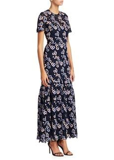 ML Monique Lhuillier Multicolor Embroidered Lace Maxi Dress