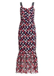 ML Monique Lhuillier Multicolor Floral Crochet Flounce Cocktail Dress