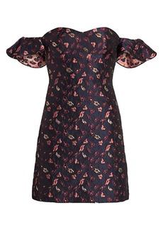 ML Monique Lhuillier Off-the-Shoulder Jacquard Mini Dress