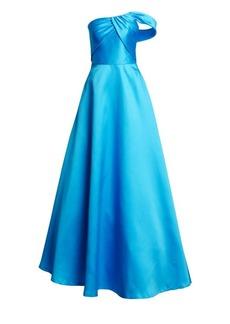 ML Monique Lhuillier One-Shoulder Satin A-Line Gown