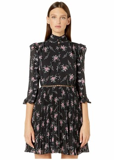 ML Monique Lhuillier Pleated Shirtdress