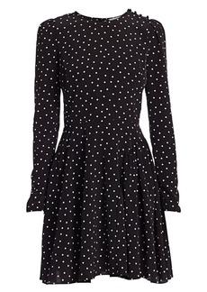 ML Monique Lhuillier Polka Dot Long-Sleeve A-Line Dress