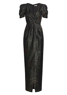 ML Monique Lhuillier Printed Sequin Puff-Sleeve Gown