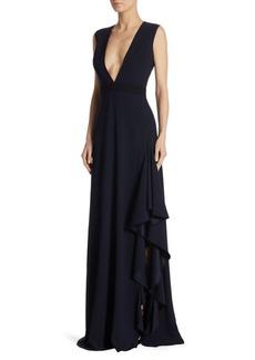 ML Monique Lhuillier Ruffled V-Neck Crepe Gown