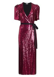 ML Monique Lhuillier Sequin Wrap Midi Dress