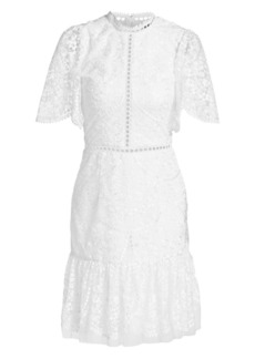 ML Monique Lhuillier Short Bell-Sleeve Floral Embroidery Dress