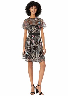 ML Monique Lhuillier Short Sleeve Embroidered Mesh Dress