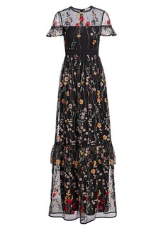 ML Monique Lhuillier Short-Sleeve Floral Embroidered Gown