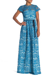 Monique Lhuillier Short Sleeve Lace Gown