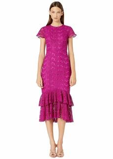 ML Monique Lhuillier Short Sleeve Lace Midi Dress w/ Ruffle Hem