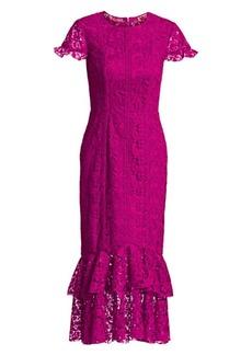 ML Monique Lhuillier Short-Sleeve Lace Sheath Dress