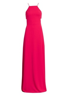 ML Monique Lhuillier Side Cut-Out Halterneck Gown