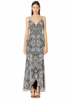 ML Monique Lhuillier Sleeveless Embroidered Gown